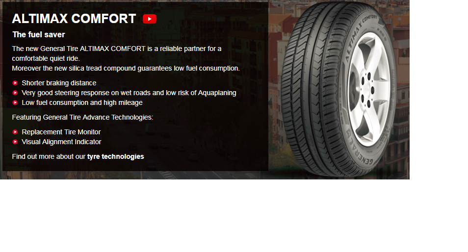 Summer Tyre GENERAL ALTIMAX COMFORT 165/70R14 81 T