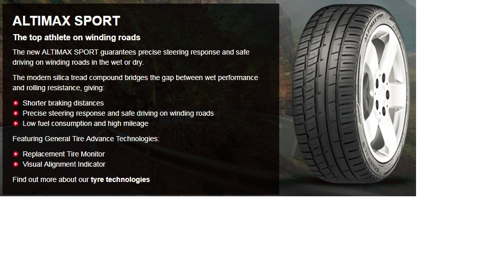 Summer Tyre GENERAL ALTIMAX SPORT 245/45R20 103 Y